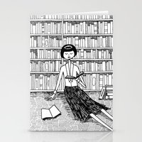 She just wanted to read books and do nothing else Stationery Cards