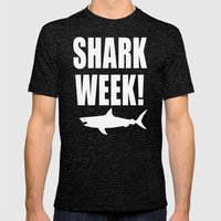 Shark week (on black) Mens Fitted Tee Tri-Black SMALL