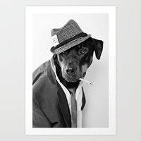 The Reporter (Black and White Dog Photography) Art Print