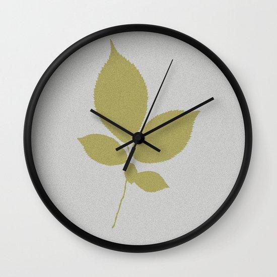 Vert et feuille d'or Wall Clock