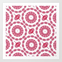 Ruby Mandala Tile Art Print