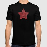 Red And Black Doodles Mens Fitted Tee Black SMALL