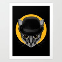 Catwork Orange Art Print