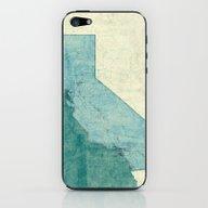 California Map Blue Vint… iPhone & iPod Skin