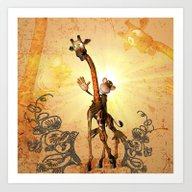 Art Print featuring Funny Cartoon Giraffe  by Nicky2342