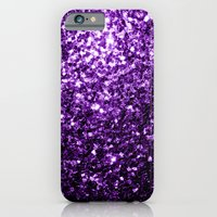 iPhone Cases featuring Beautiful Purple glitter sparkles by PLdesign