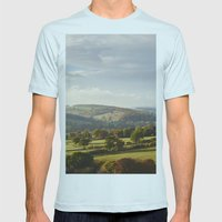 Sunset Over Trees In The… Mens Fitted Tee Light Blue SMALL