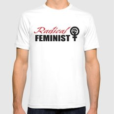 Radical Feminist White Mens Fitted Tee SMALL