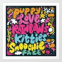 PUPPY LOVE, RAINBOWS, KI… Art Print