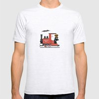 Groovy train Mens Fitted Tee Ash Grey SMALL