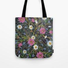 Teal Flowers Tote Bag