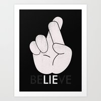 Finger Crossed Art Print