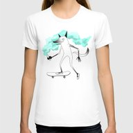 Fox Skateboarder Womens Fitted Tee White LARGE