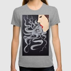 Smoke Dreams - Smoking Lady Series Womens Fitted Tee Tri-Grey SMALL