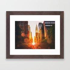 NYC Skyline Sunset Framed Art Print