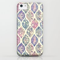 iPhone 5c Cases featuring Patterned & Painted Floral Ogee in Vintage Tones by micklyn