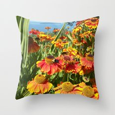 Sweet as a Bee and Daisies Throw Pillow