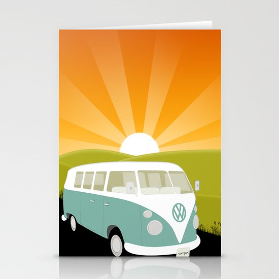 Retro Volkswagen Bus - Sunset Stationery Card