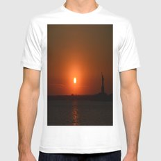 A Sunset With Lady Liberty SMALL White Mens Fitted Tee