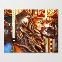 Wild Ride On A Carousel Canvas Print