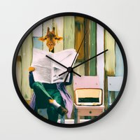Giraffe reads the paper... Wall Clock