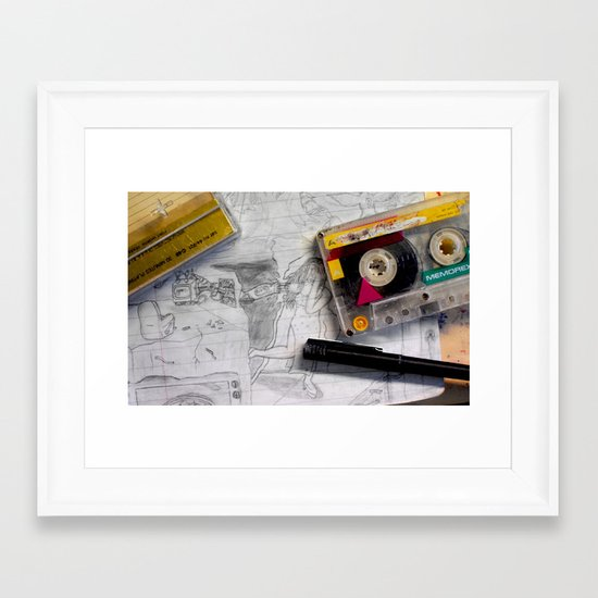 """Back to School Mixtape"" by Cap Blackard Framed Art Print"