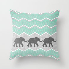 Three Elephants - Teal A… Throw Pillow