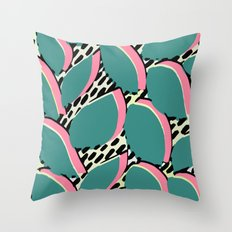 80s leaf pattern Throw Pillow