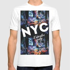 NEW-YORK (LIBERTEE CITY) White Mens Fitted Tee SMALL