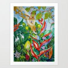 Giraffe meets snail Art Print