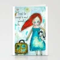 Travel girl quote Stationery Cards
