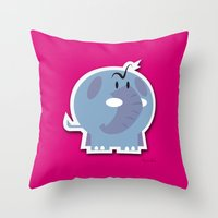 Angry Elefant Throw Pillow