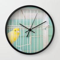 Yellow Bird Against Turq… Wall Clock