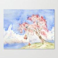 Girl On A Sakura Tree Sw… Canvas Print