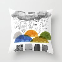 cloudy days for uppercase mag Throw Pillow