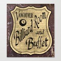 Vintage Vancouver Billiard Sign Canvas Print