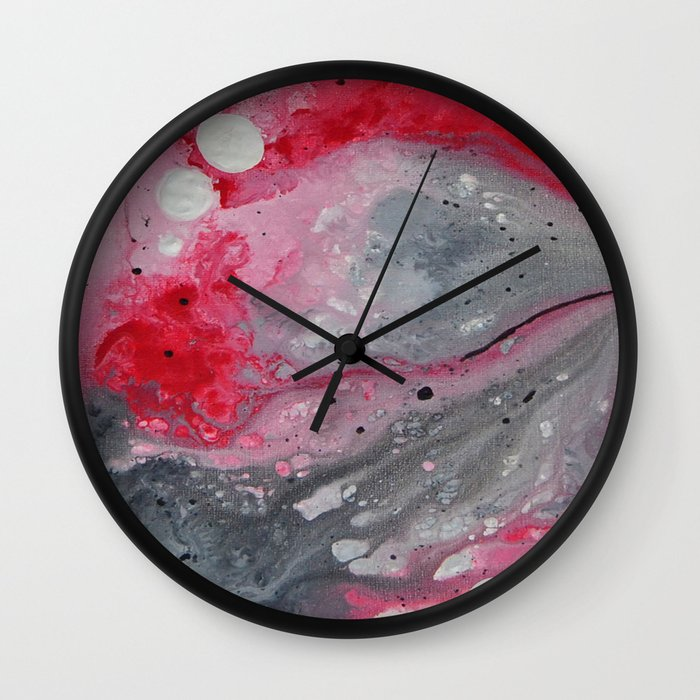 Red black and white abstract art by saribelle wall clock for Red and black wall clock