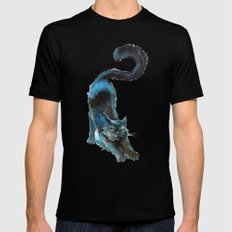 Black Blue Cat Stretching Drawing  Mens Fitted Tee Black SMALL