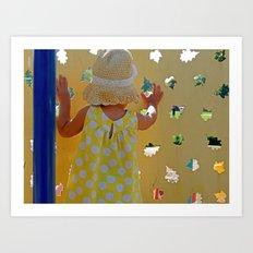 Yellow Polka Dot Dress Art Print