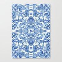 Pattern In Denim Blues O… Canvas Print