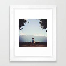 Girl and dog  Framed Art Print