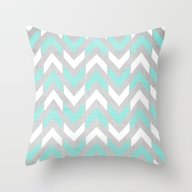 Teal & White Herringbone… Throw Pillow