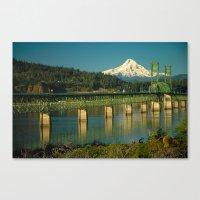 Hood River Bridge And Mo… Canvas Print