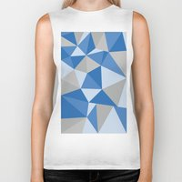 Blue & Gray Geometric Biker Tank