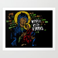 Jesus was black Art Print