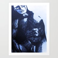 Nude Male Blue Art Print