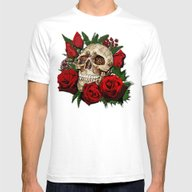 Floral Flower Skull Mens Fitted Tee White SMALL
