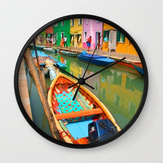 burano, italy - boat Wall Clock