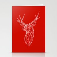 3D Stag Trophey Head Wire Frame Stationery Cards