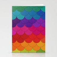 Rainbow Scallops Stationery Cards